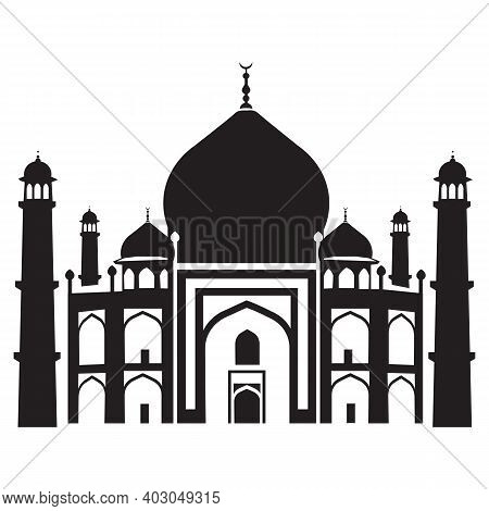 Taj Mahal Is A Palace In India. Landmark, Architecture, Hindu Temple. Mosque. Engraving, Hand Drawin