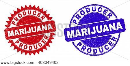 Rounded And Rosette Producer Marijuana Seals. Flat Vector Distress Watermarks With Producer Marijuan