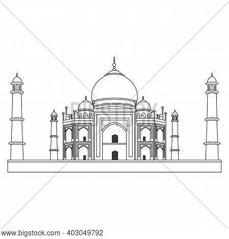 Tajmahal Icon, Taj Mahal Indian Landmark Travel Sticker. Sight Of Asian Country, Muslim Religion Sym