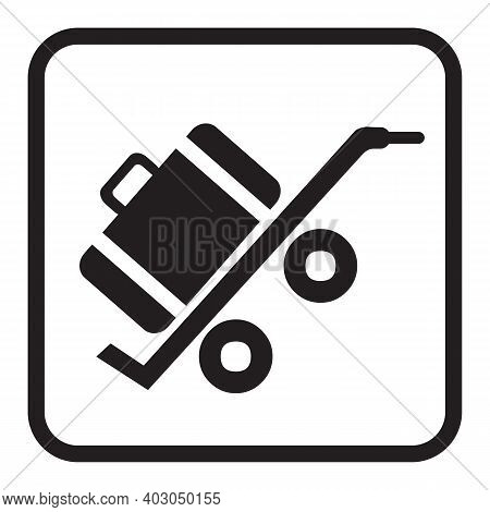 Luggage Trolley Icon Isolated On White Background From Airport Terminal Collection. Luggage Trolley