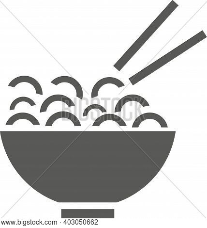 A Plate Of Noodles With Chopsticks. Vector Black And White Illustration.