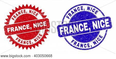 Rounded And Rosette France, Nice Seal Stamps. Flat Vector Distress Seal Stamps With France, Nice Tag