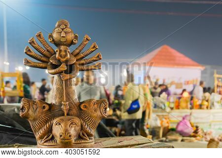 Goddess Durga Terracotta Doll Is Being Displayed,. Made In Krishnanagar, Nadia, West Bengal, For Sal