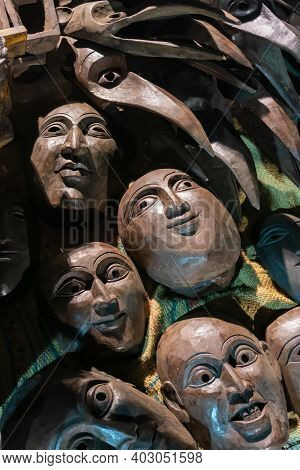 Brown Color Clay Made Masks, Terracotta Masks, Made In Krishnanagar, Nadia, West Bengal, For Sale In