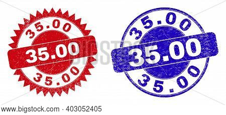 Round And Rosette 35.00 Stamps. Flat Vector Scratched Watermarks With 35.00 Text Inside Round And Sh