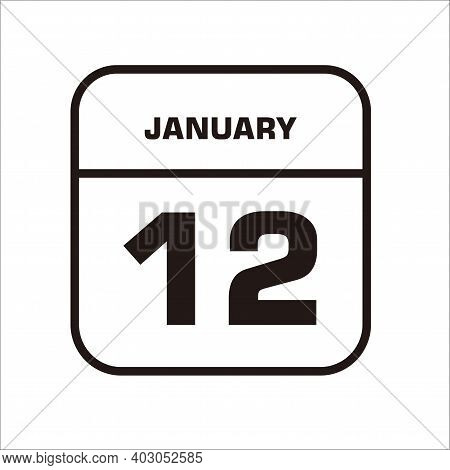 Calendar Icon 12 Isolated On White Background, Calendar Icon Vector Flat Modern, Calendar Icon, Cale