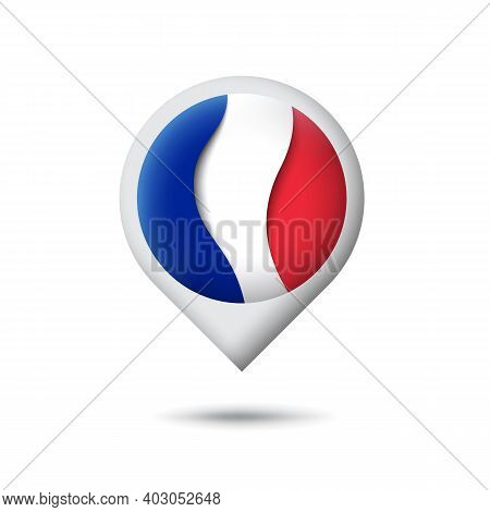 France Flag Icon In The Shape Of Pointer, Map Marker. Waving In The Wind. Abstract Waving France Fla