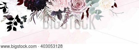 Dusty Pink, Pastel, Black Flowers Vector Design Watercolor Banner Frame. Hydrangea, Rose, Dahlia, Bl