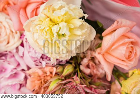 Bouquet Of Delicate Pink Peony Roses. Compilation Of Bouquets.