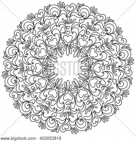 Heart Mandala With Swirls And Patterns, Anti Stress Coloring Page For Valentine's Day Vector Illustr