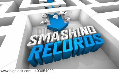 Smashing Records Breaking High Level Score Top Winner Maze Arrow Words 3d Illustration