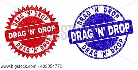 Round And Rosette Drag N Drop Stamps. Flat Vector Distress Stamps With Drag N Drop Message Inside Ro
