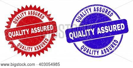 Round And Rosette Quality Assured Seal Stamps. Flat Vector Distress Seal Stamps With Quality Assured