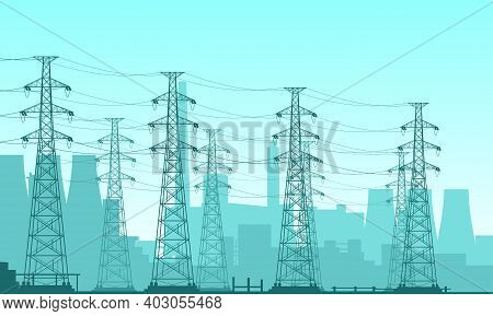 Vector Illustration Of A Nuclear Power Plant Field. Suitable For Design Elements Of Power Companies,