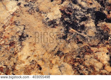 Light Brown Marble With Dark Inserts, Close-up Of A Flat Surface Of Natural Stone.