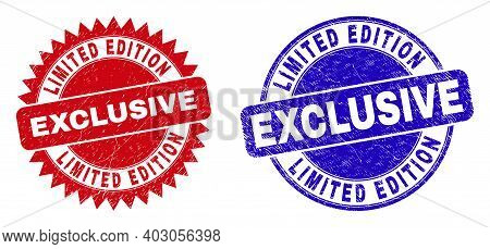 Rounded And Rosette Limited Edition Exclusive Seal Stamps. Flat Vector Textured Seal Stamps With Lim