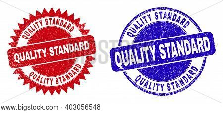 Round And Rosette Quality Standard Seal Stamps. Flat Vector Textured Seal Stamps With Quality Standa