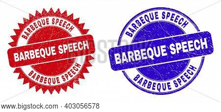 Round And Rosette Barbeque Speech Seals. Flat Vector Scratched Seals With Barbeque Speech Phrase Ins