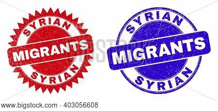 Round And Rosette Syrian Migrants Seal Stamps. Flat Vector Textured Seal Stamps With Syrian Migrants