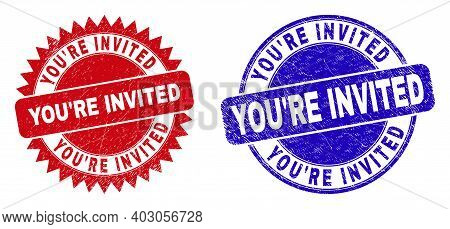 Round And Rosette Youre Invited Seal Stamps. Flat Vector Scratched Seal Stamps With Youre Invited Sl