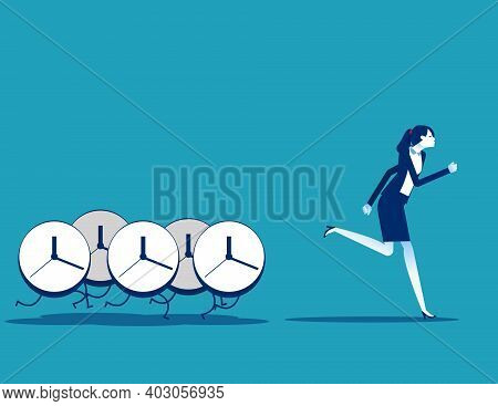 Clocks Pursuing After Business People. Time Concept