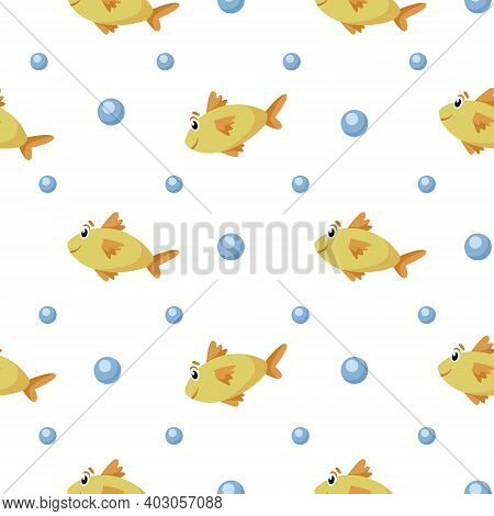Nautical Cartoon Seamless Pattern - Cute Golden Fish And Bubbles Seamless Digital Paper, Vector Nurs