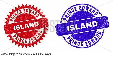 Round And Rosette Prince Edward Island Seal Stamps. Flat Vector Scratched Seal Stamps With Prince Ed