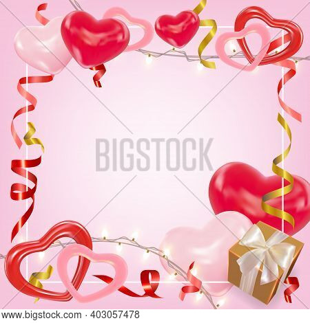 Valentines Day Background With Pink And Red Hearts, Shining Garlands, Gifts Box, Tinsel. Cute Romant