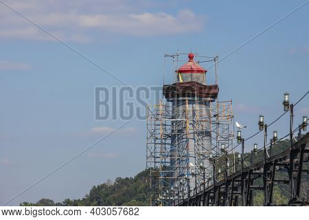 Grand haven, Michigan light house under renovation
