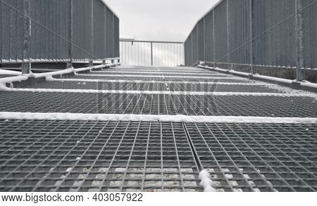 Gray Snow-covered Staircase Observation Deck Construction With High Resistance To Deformation Even U