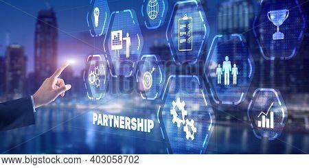 Business Partnership And Success Concept. Businessman Presses Finger Partnership.