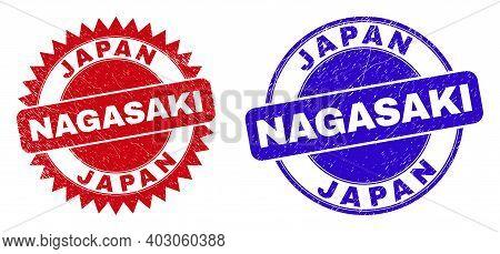 Round And Rosette Japan Nagasaki Stamps. Flat Vector Grunge Seal Stamps With Japan Nagasaki Tag Insi
