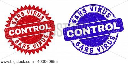 Round And Rosette Sars Virus Control Seal Stamps. Flat Vector Scratched Stamps With Sars Virus Contr