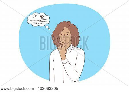 Office Worker, Dreaming Of Traveling Concept. Young Smiling Woman Office Worker Cartoon Character In