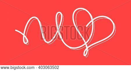 Vintage Decor Heart. Heart Symbol Made Of Ribbons. Flowing Line Sketching Heart Icon. Love Consept.