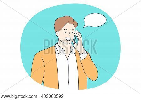 Talking On Phone, Online Communication On Smartphone, Chatting Concept. Smiling Man With Smartphone