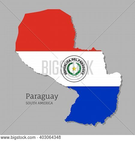 Map Of Paraguay With National Flag. Highly Detailed Editable Paraguayan Map, South America Country T