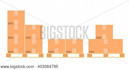 Cardboard Boxes On A Wood Pallet. Different Boxes On Warehouse Stack Front View. Boxes On Wooden Pal