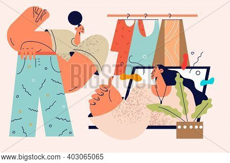 Online Stylist And Fashion Consultation Concept. Young Woman Personal Stylist Cartoon Character Cons