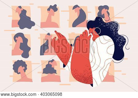 Beauty, Fashion And Online Technologies Concept. Young Stylish Woman Cartoon Character Looking At Di