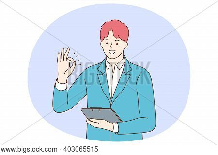 Positive Emotions, Ok Sign And Gesture Language Concept. Young Positive Businessman Cartoon Characte