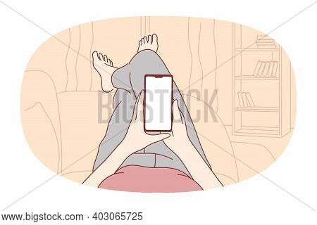 Smartphone, Online Communication, Chatting Concept. Hands Of Person With Smartphone Chatting, Search