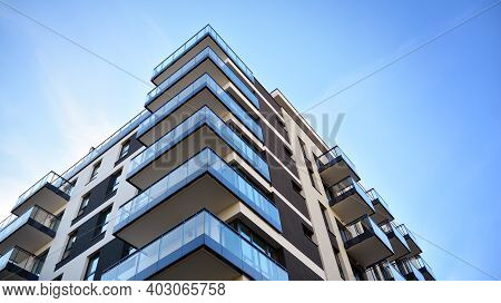 Fragment Of Modern Luxury Residential Apartment,  Home House Building Concept. Modern Apartment Buil