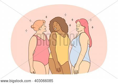 Overweight, Plus Size, Obesity Concept. Young Smiling Women Friends Of Different Ethnicities In Colo