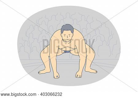 Sumo And Japanese Traditional Fighting Concept. Overweight Man Sumo Fighter Standing In Position Dur
