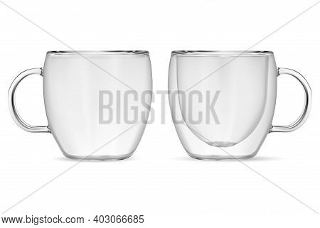 Glass Cup Vector. Transparent Empty Coffee Mug. Realistic Clear Tea Cups Mockup. Latte Macchiato Jar