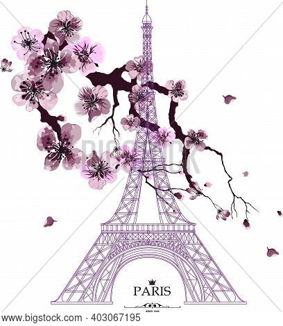 Vintage Vector Illustration Of Eiffel Tower With Sakura Flowers On Grunge Background