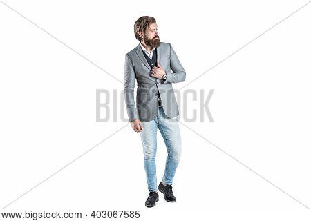 Elegant Handsome Man In Suit. Handsome Bearded Businessman In Classic Suits. Man In Suit. Male Beard