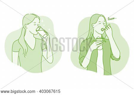 Heathy Eating And Drinking Concept. Young Positive Woman Cartoon Character Drinking Pure Water And E