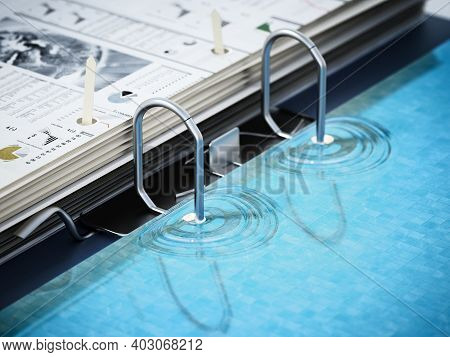 Document Folder Mechanism Illustrated As Swimming Pool Ladder. Business And Vacations Concept. 3d Il